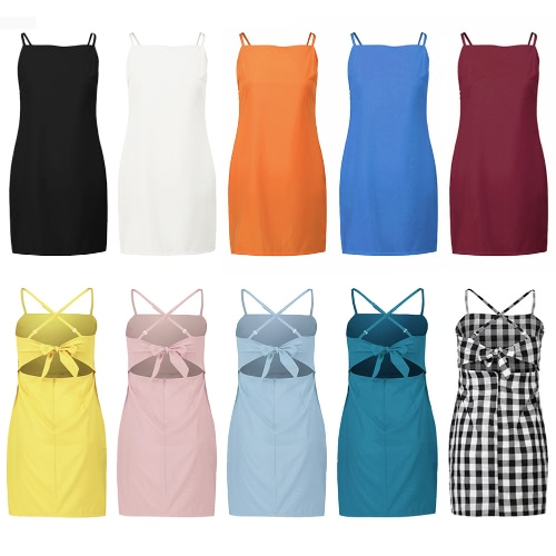 Sexy Women Mini Slim Dress Strappy Open Back Sleeveless Adjustable Strap Casual Beach Holiday DressApparel &amp; Jewelry<br>Sexy Women Mini Slim Dress Strappy Open Back Sleeveless Adjustable Strap Casual Beach Holiday Dress<br>