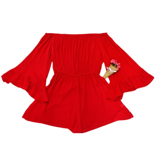 Sexy Women Off Shoulder Jumpsuit Short Rompers Boho Slash Neck Long Flare Sleeve Ruffle Casual PlaysuitApparel &amp; Jewelry<br>Sexy Women Off Shoulder Jumpsuit Short Rompers Boho Slash Neck Long Flare Sleeve Ruffle Casual Playsuit<br>