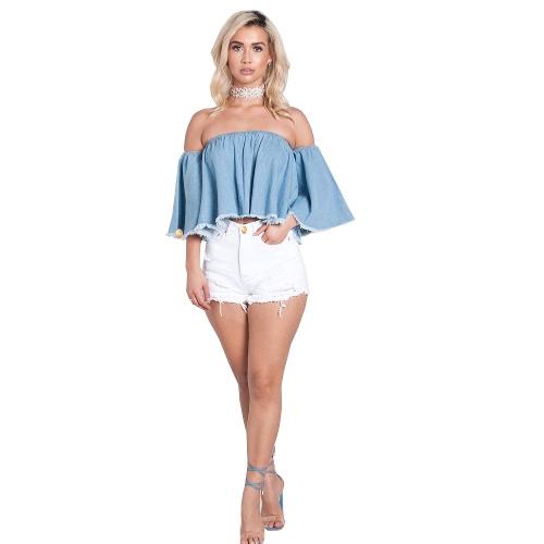 Mujeres Ripped Hole Fringe Denim Shorts Casual Alta cintura Jeans Shorts Verano Girl Frayed Hot Shorts Blanco