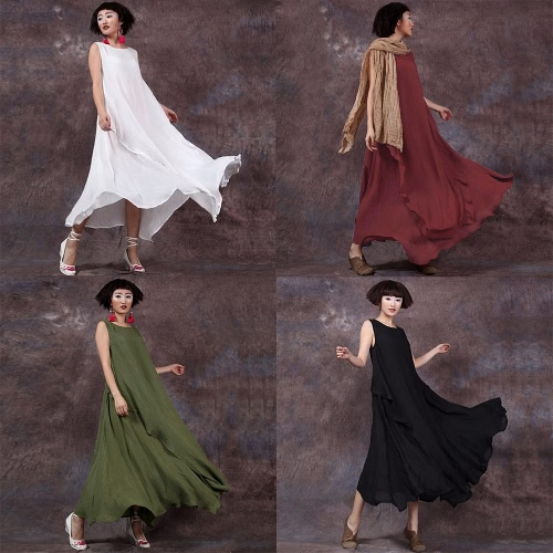 Women Summer Dress Sleeveless O Neck Long Maxi Linen Dresses Loose Plus Size DressApparel &amp; Jewelry<br>Women Summer Dress Sleeveless O Neck Long Maxi Linen Dresses Loose Plus Size Dress<br>