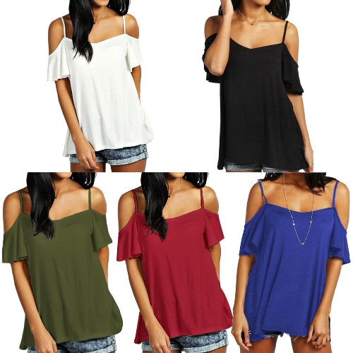 Women Summer Basic T-shirt Off Shoulder Short Sleeve Solid Color Casual Loose Top ShirtApparel &amp; Jewelry<br>Women Summer Basic T-shirt Off Shoulder Short Sleeve Solid Color Casual Loose Top Shirt<br>