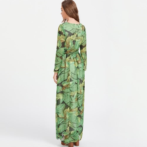 Boho Women Dress Leaves Print Self Tie High Waist Floor Length Long Gown Tropical Beach One-Piece GreenApparel &amp; Jewelry<br>Boho Women Dress Leaves Print Self Tie High Waist Floor Length Long Gown Tropical Beach One-Piece Green<br>