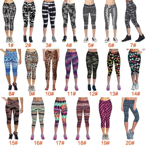New Fashion Women Capri Leggings High Waist Printed Cropped Yoga Pants Fitness Workout Casual TrousersApparel &amp; Jewelry<br>New Fashion Women Capri Leggings High Waist Printed Cropped Yoga Pants Fitness Workout Casual Trousers<br>