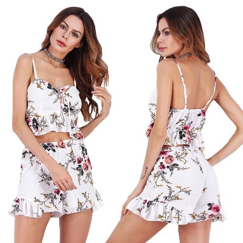 Sexy Women Chiffon Two Piece Set Crop Top Shorts Floral Print Ruffles Lace Up Boho Beach Suits Outfits WhiteApparel &amp; Jewelry<br>Sexy Women Chiffon Two Piece Set Crop Top Shorts Floral Print Ruffles Lace Up Boho Beach Suits Outfits White<br>