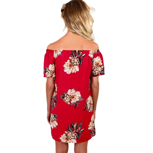 Women Chiffon Dress Off shoulder Floral Print Slash Neck Short Sleeve Mini Casual Beach Holiday One-Piece RedApparel &amp; Jewelry<br>Women Chiffon Dress Off shoulder Floral Print Slash Neck Short Sleeve Mini Casual Beach Holiday One-Piece Red<br>