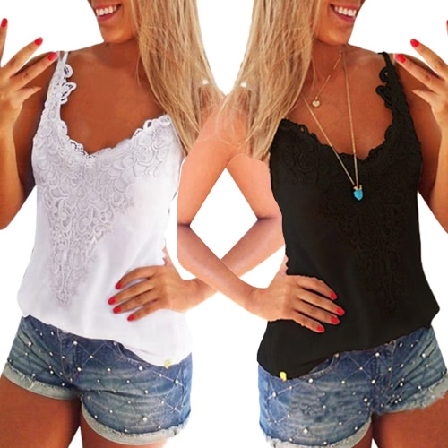 New Women Elastic Tank Tops O-Neck Lace Crochet Vest Slim Bodycon Sexy Summer Camis White/BlackApparel &amp; Jewelry<br>New Women Elastic Tank Tops O-Neck Lace Crochet Vest Slim Bodycon Sexy Summer Camis White/Black<br>
