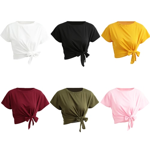 New Summer Women Solid T-Shirt Tie Front O-Neck Short Sleeve Bow Loose Casual Tee TopApparel &amp; Jewelry<br>New Summer Women Solid T-Shirt Tie Front O-Neck Short Sleeve Bow Loose Casual Tee Top<br>