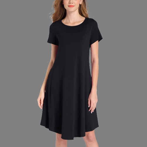 Women Jersey Dress Solid Stretchy Round Neck Short Sleeve Pockets Midi Casual Party Club One-PieceApparel &amp; Jewelry<br>Women Jersey Dress Solid Stretchy Round Neck Short Sleeve Pockets Midi Casual Party Club One-Piece<br>