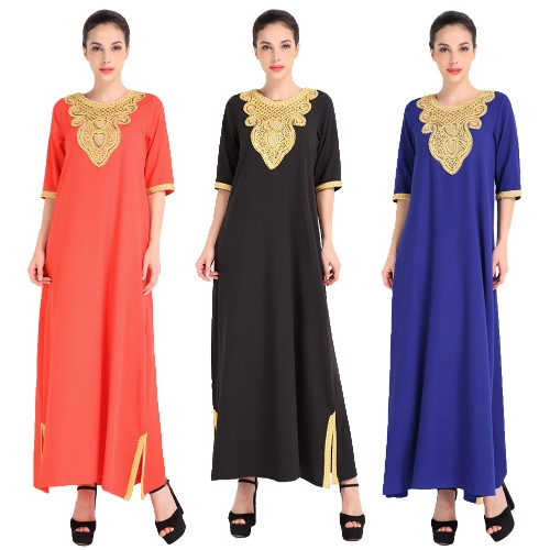 Fashion Women Muslim Dress Half Sleeve Sequined Split Abaya Kaftan Islamic Arab Robe Maxi Dress Black/Orange/BlueApparel &amp; Jewelry<br>Fashion Women Muslim Dress Half Sleeve Sequined Split Abaya Kaftan Islamic Arab Robe Maxi Dress Black/Orange/Blue<br>