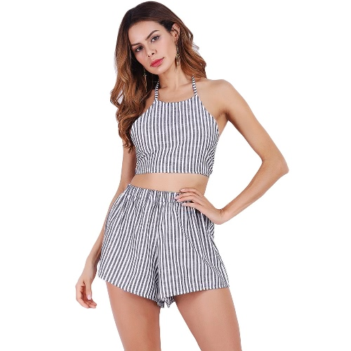 Summer Women Two Piece Set Striped Sleeveless Bandage Crop Top Elastic Waist Shorts Suit Outfit Grey/Blue/RedApparel &amp; Jewelry<br>Summer Women Two Piece Set Striped Sleeveless Bandage Crop Top Elastic Waist Shorts Suit Outfit Grey/Blue/Red<br>