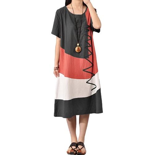 Women Cotton Vintage Dress Contrast O Neck Short SleevesApparel &amp; Jewelry<br>Women Cotton Vintage Dress Contrast O Neck Short Sleeves<br>