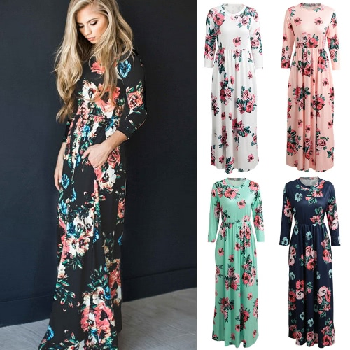 Women Floral Print Maxi Dress O Neck 3/4 Sleeves Pockets Elastic Waist Long Dress VestidosApparel &amp; Jewelry<br>Women Floral Print Maxi Dress O Neck 3/4 Sleeves Pockets Elastic Waist Long Dress Vestidos<br>
