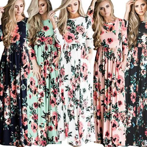 Women Floral Print Maxi Dress O Neck 3/4 Sleeves Pockets Elastic Waist Long Dress VestidosApparel &amp; Jewelry<br>Women Floral Print Maxi Dress O Neck 3/4 Sleeves Pockets Elastic Waist Long Dress Vestidos<br>