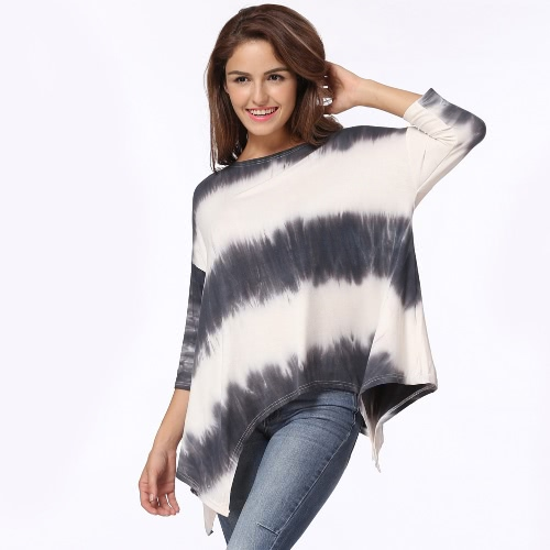 New Fashion Women T-shirt Round Neck 3/4 Sleeves Irregular Hem Loose Tee Shirt Top White/BlackApparel &amp; Jewelry<br>New Fashion Women T-shirt Round Neck 3/4 Sleeves Irregular Hem Loose Tee Shirt Top White/Black<br>