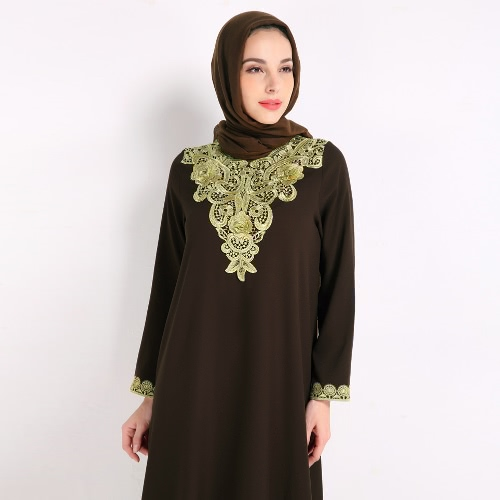 Fashion Women Muslim Dress Embroidery Long Sleeve Abaya Kaftan Islamic Arab Robe Maxi Dress Black/Coffee/BlueApparel &amp; Jewelry<br>Fashion Women Muslim Dress Embroidery Long Sleeve Abaya Kaftan Islamic Arab Robe Maxi Dress Black/Coffee/Blue<br>