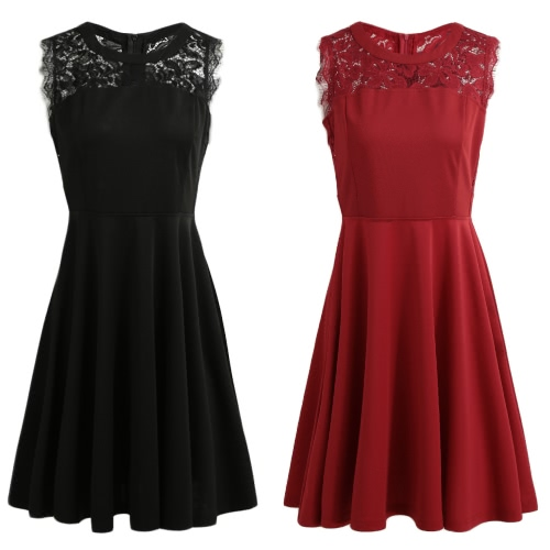 Fashion Women Sleeveless Dress Lace Splicing Round Neck A-Lined Cocktail Parties Dress Black/BurgundyApparel &amp; Jewelry<br>Fashion Women Sleeveless Dress Lace Splicing Round Neck A-Lined Cocktail Parties Dress Black/Burgundy<br>