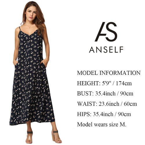 Sexy Women Maxi Long Strappy Dress Floral Print V-Neck Sleeveless Vintage Casual Loose Dress Black/Dark BlueApparel &amp; Jewelry<br>Sexy Women Maxi Long Strappy Dress Floral Print V-Neck Sleeveless Vintage Casual Loose Dress Black/Dark Blue<br>