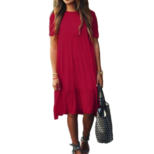 Fashion Women Solid A-Line Dress Round Neck Short SleevesApparel &amp; Jewelry<br>Fashion Women Solid A-Line Dress Round Neck Short Sleeves<br>