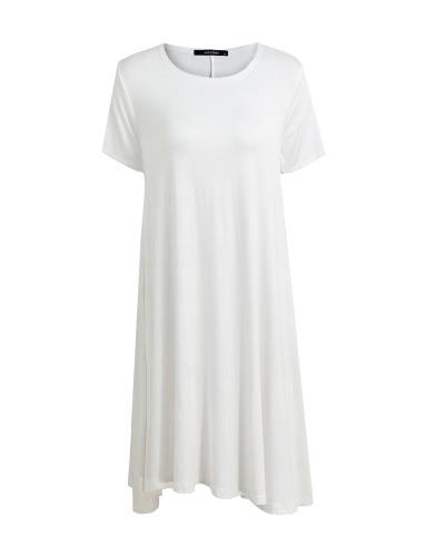 Fashion Women Solid A-Line Dress Round Neck Short SleevesApparel &amp; Jewelry<br>Fashion Women Solid A-Line Dress Round Neck Short Sleeves<br>
