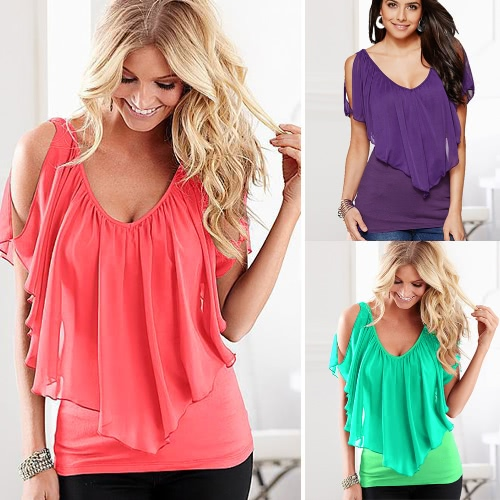Sexy Women Blouse V Neck Cold Shoulder Ruffles Sleeveless Solid T-Shirt Vest Tank Summer Casual TopsApparel &amp; Jewelry<br>Sexy Women Blouse V Neck Cold Shoulder Ruffles Sleeveless Solid T-Shirt Vest Tank Summer Casual Tops<br>