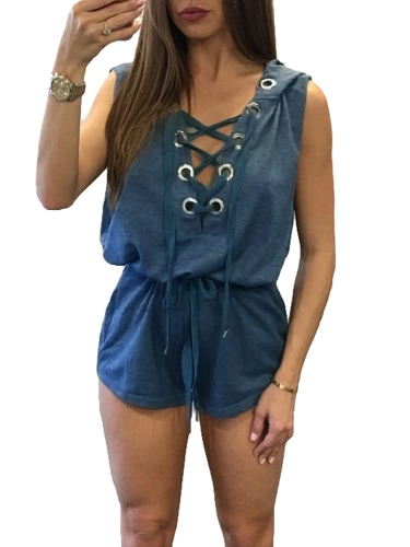 Sexy Women Hooded Playsuit Deep V Neck Crisscross Lace Up Bandage Sleeveless Short Jumpsuit RompersApparel &amp; Jewelry<br>Sexy Women Hooded Playsuit Deep V Neck Crisscross Lace Up Bandage Sleeveless Short Jumpsuit Rompers<br>