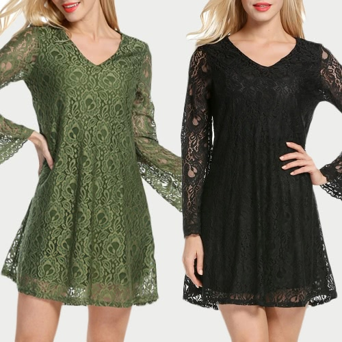 Sexy Women Mini Dress Lace Hollow Out V-Neck Long Sleeves Elegant Loose Party Dress Black/GreenApparel &amp; Jewelry<br>Sexy Women Mini Dress Lace Hollow Out V-Neck Long Sleeves Elegant Loose Party Dress Black/Green<br>