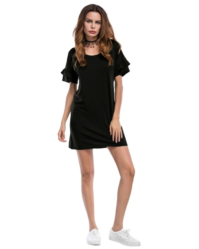 Sexy Women Casual Dress Ruffles Sleeves Solid O Neck Sundress Beach Mini Dress Black/Army GreenApparel &amp; Jewelry<br>Sexy Women Casual Dress Ruffles Sleeves Solid O Neck Sundress Beach Mini Dress Black/Army Green<br>
