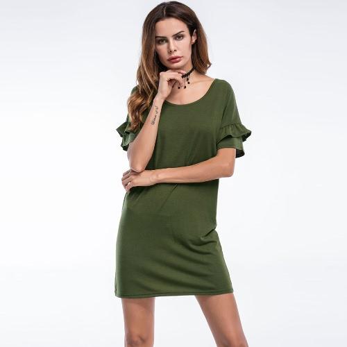 Sexy Women Casual Dress Ruffles Sleeves Solid O Neck Sundress Beach Mini Dress Black/Army GreenApparel &amp; Jewelry<br>Sexy Women Casual Dress Ruffles Sleeves Solid O Neck Sundress Beach Mini Dress Black/Army Green<br>