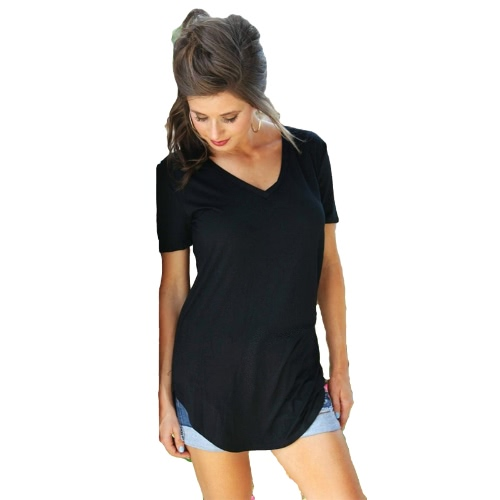 New Fashion Women T-shirt Solid Color V Neck Short Sleeve Rounded Hem Long Casual Party Wear TopsApparel &amp; Jewelry<br>New Fashion Women T-shirt Solid Color V Neck Short Sleeve Rounded Hem Long Casual Party Wear Tops<br>
