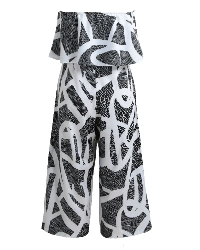 Sexy Women Strapless Jumpsuit Contrast Color Print Ruffles Wide Leg Pants Summer Casual Beach Playsuit Rompers BlackApparel &amp; Jewelry<br>Sexy Women Strapless Jumpsuit Contrast Color Print Ruffles Wide Leg Pants Summer Casual Beach Playsuit Rompers Black<br>