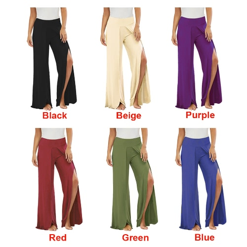 Sexy Women High Split Flowy Wide Leg Pants Mid Waist Solid Yoga Trousers Summer Beach Long Loose Harem PantsApparel &amp; Jewelry<br>Sexy Women High Split Flowy Wide Leg Pants Mid Waist Solid Yoga Trousers Summer Beach Long Loose Harem Pants<br>