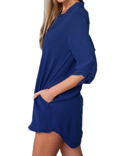 Women Chiffon Shirt Dress V Neck Pockets Roll up Long Sleeves Asymmetrical Solid Loose Casual Blouse Tunic ShirtApparel &amp; Jewelry<br>Women Chiffon Shirt Dress V Neck Pockets Roll up Long Sleeves Asymmetrical Solid Loose Casual Blouse Tunic Shirt<br>