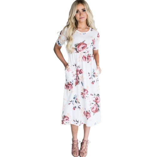 Women Dress Floral Print Side Pockets High Waist Round Neck Short Sleeve Casual Party Beach One-PieceApparel &amp; Jewelry<br>Women Dress Floral Print Side Pockets High Waist Round Neck Short Sleeve Casual Party Beach One-Piece<br>