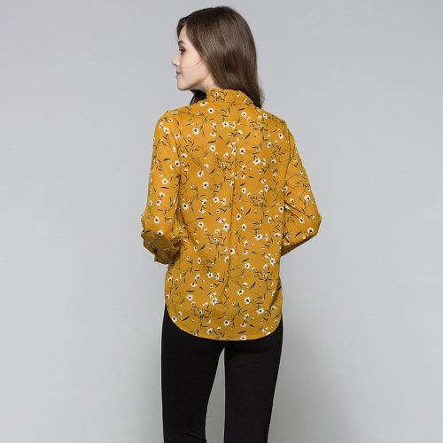New Women Blouse Floral Print Lace-Up V-Neck Long Sleeves Casual Elegant Loose Top Beige/YellowApparel &amp; Jewelry<br>New Women Blouse Floral Print Lace-Up V-Neck Long Sleeves Casual Elegant Loose Top Beige/Yellow<br>