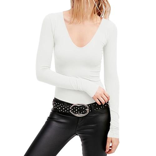 New Sexy Women Plunge V Neck T-Shirt Long Sleeves Solid Color Pullover TopApparel &amp; Jewelry<br>New Sexy Women Plunge V Neck T-Shirt Long Sleeves Solid Color Pullover Top<br>