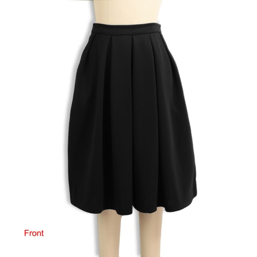 New Fashion Women High Waist Pleated Skirt Side Zipper Flared Skirts with Pockets Black/RedApparel &amp; Jewelry<br>New Fashion Women High Waist Pleated Skirt Side Zipper Flared Skirts with Pockets Black/Red<br>