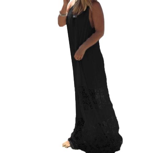 Women Summer Dress Solid Lace Splice Spaghetti Strap Loose Long Beach Maxi Plus Size Floor-length DressApparel &amp; Jewelry<br>Women Summer Dress Solid Lace Splice Spaghetti Strap Loose Long Beach Maxi Plus Size Floor-length Dress<br>