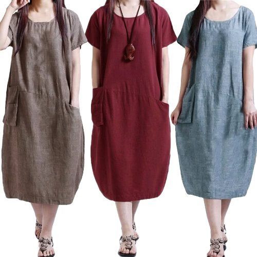 Fashion Women Casual Loose Dress Solid Color Short Sleeve Pocket Summer Vintage Midi Long Dress Plus SizeApparel &amp; Jewelry<br>Fashion Women Casual Loose Dress Solid Color Short Sleeve Pocket Summer Vintage Midi Long Dress Plus Size<br>