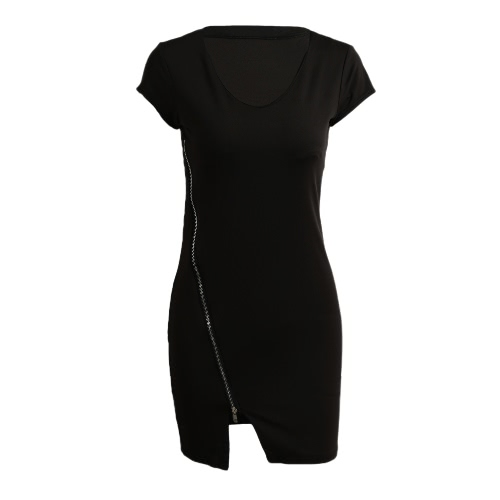 Women Club Dress Package Hip Zipper Bodycon Sundress Business Casual Stretch Mini Dress BlackApparel &amp; Jewelry<br>Women Club Dress Package Hip Zipper Bodycon Sundress Business Casual Stretch Mini Dress Black<br>