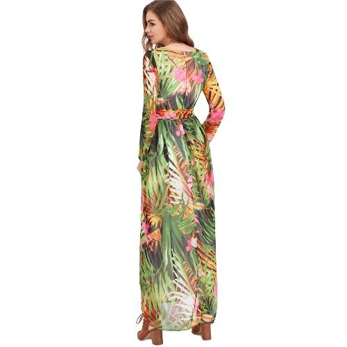 Summer Women Maxi Dress Long Sleeve Floor Length Boho Beach Party Floral Printed Casual Long Dress GreenApparel &amp; Jewelry<br>Summer Women Maxi Dress Long Sleeve Floor Length Boho Beach Party Floral Printed Casual Long Dress Green<br>