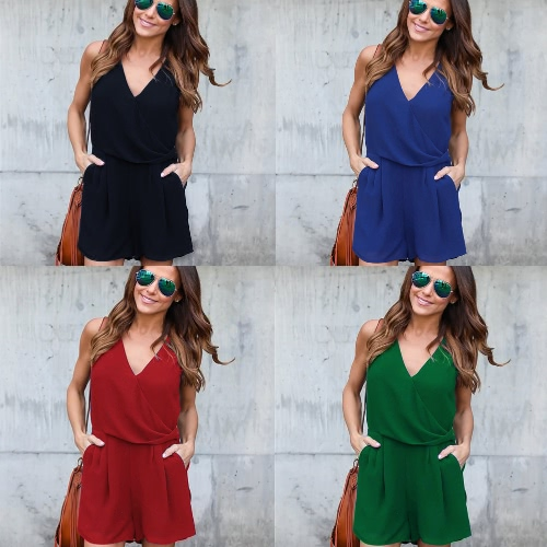 Summer Casual Playsuit Women Sexy Sleeveless Short Jumpsuit Shorts Solid Deep V Neck Overalls RompersApparel &amp; Jewelry<br>Summer Casual Playsuit Women Sexy Sleeveless Short Jumpsuit Shorts Solid Deep V Neck Overalls Rompers<br>