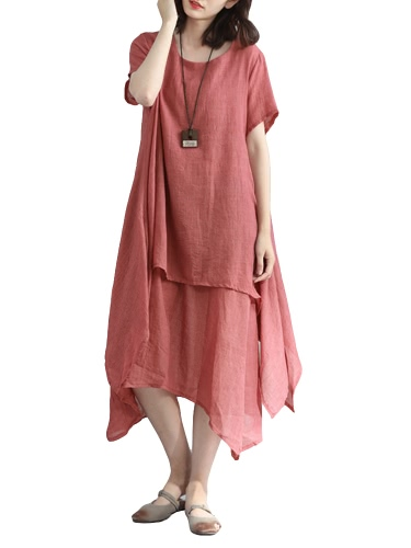 Fashion Women Casual Loose Dress Solid Short Sleeve Cotton Linen Asymmetrical Boho Midi Long Dress Red/Grey/KhakiApparel &amp; Jewelry<br>Fashion Women Casual Loose Dress Solid Short Sleeve Cotton Linen Asymmetrical Boho Midi Long Dress Red/Grey/Khaki<br>