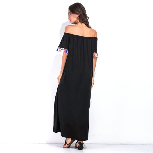 Sexy Women Off Shoulder Maxi Dress Short Sleeve Colorful Tassels Fringed Solid Loose Summer Long DressApparel &amp; Jewelry<br>Sexy Women Off Shoulder Maxi Dress Short Sleeve Colorful Tassels Fringed Solid Loose Summer Long Dress<br>