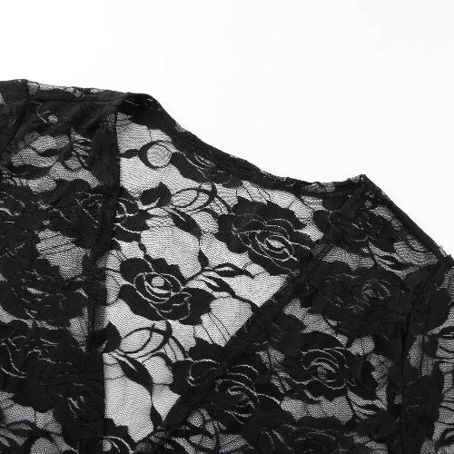 Women Lace Beach Top Swimsuit Cover Up See Through Cardigan Bikini Shirt Tunic Bathing Suit Beachwear Black/WhiteApparel &amp; Jewelry<br>Women Lace Beach Top Swimsuit Cover Up See Through Cardigan Bikini Shirt Tunic Bathing Suit Beachwear Black/White<br>