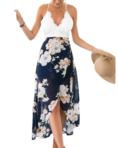 Sexy Women Floral Print Lace Summer Dress Strap Deep V-Neck High Waist Beach Split Backless Midi Dresses Dark BlueApparel &amp; Jewelry<br>Sexy Women Floral Print Lace Summer Dress Strap Deep V-Neck High Waist Beach Split Backless Midi Dresses Dark Blue<br>