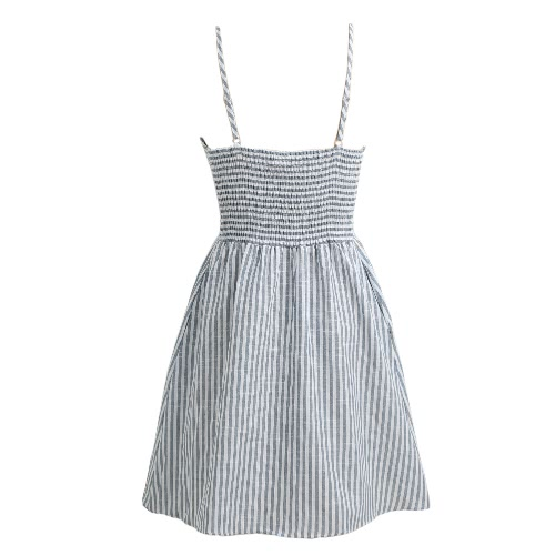 Women Bow Tie Strap A-Line Dress Casual Striped Print Beach Backless Summer Dress GreyApparel &amp; Jewelry<br>Women Bow Tie Strap A-Line Dress Casual Striped Print Beach Backless Summer Dress Grey<br>