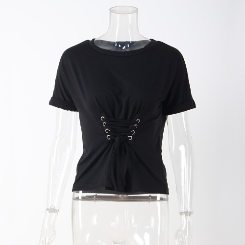 Trendy Women T-shirt Criss Cross Lace Up Bandage Holes Eyelet Round Neck Short Sleeve Casual TopsApparel &amp; Jewelry<br>Trendy Women T-shirt Criss Cross Lace Up Bandage Holes Eyelet Round Neck Short Sleeve Casual Tops<br>