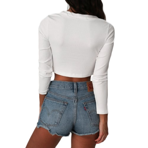 Sexy Women Bodycon Crop Top Lace-Up Bandage O-Neck Long Sleeves Casual Solid Slim TopApparel &amp; Jewelry<br>Sexy Women Bodycon Crop Top Lace-Up Bandage O-Neck Long Sleeves Casual Solid Slim Top<br>