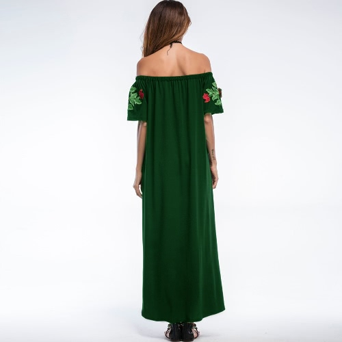 Sexy Women Long Maxi Dress Embroidery Off Shoulder Slash Neck Evening Club Party Dress Green/Dark GreenApparel &amp; Jewelry<br>Sexy Women Long Maxi Dress Embroidery Off Shoulder Slash Neck Evening Club Party Dress Green/Dark Green<br>
