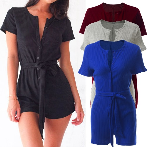 Women Playsuit Solid Color Ribbed Buttons Tie Waist V Round Neck Short Sleeve Casual JumpsuitApparel &amp; Jewelry<br>Women Playsuit Solid Color Ribbed Buttons Tie Waist V Round Neck Short Sleeve Casual Jumpsuit<br>